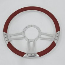 "China 14"" Satin Billet Steering Wheel with Full Leather Wrap"