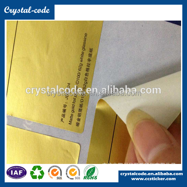best sale glossy permanent self-adhesive aluminum foil sticker paper