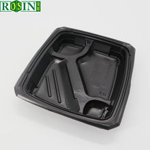 High quality black 4 compartments PP plastic high temperature meal prep containers for food