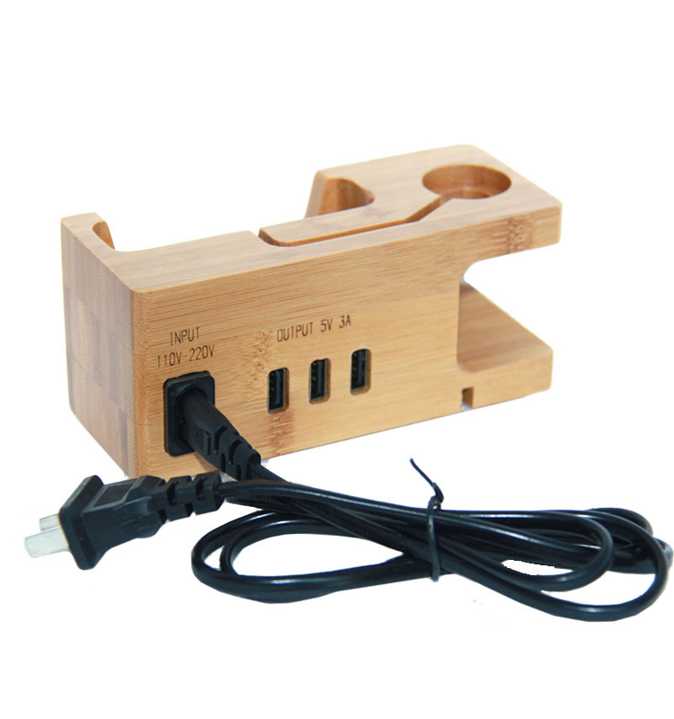 3 USB Ports Charging Dock Bamboo Wood Desktop Charger phone charging station dock