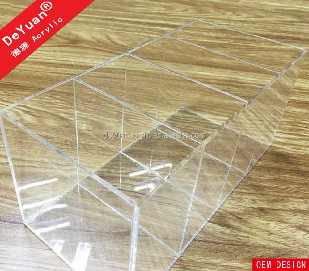 Acrylic Three Dividers Clear Desktop Organizer Box