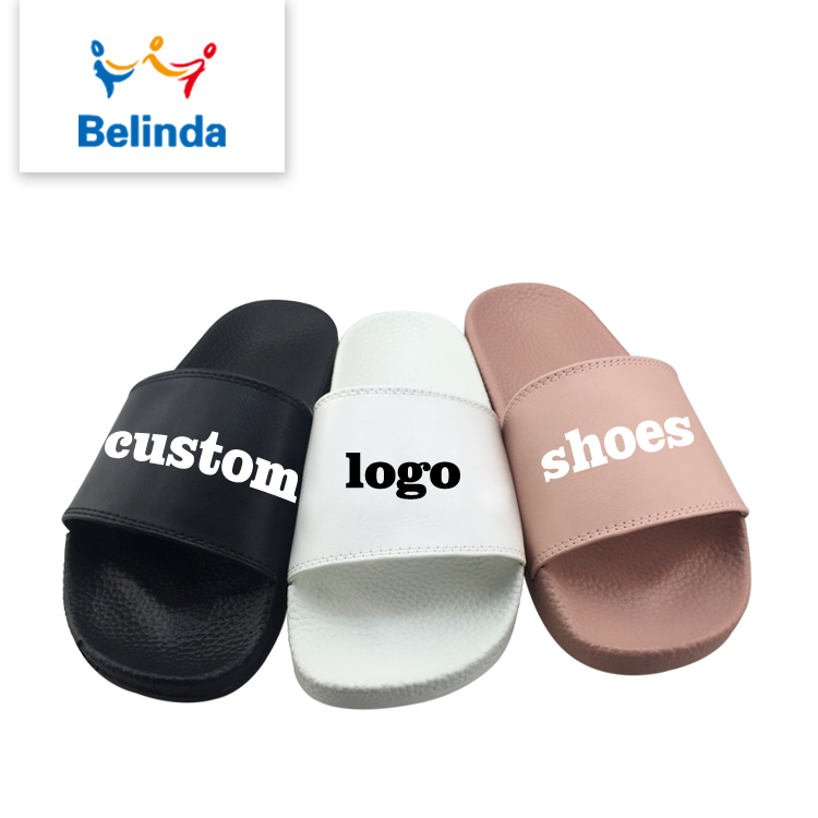 Designer PU Shoes Lady Slide Sandal Made Printed Logo Woman Custom <strong>Slippers</strong>