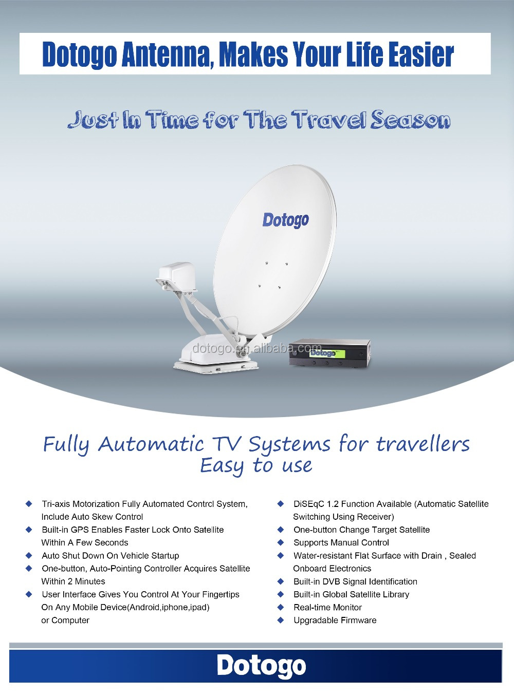 Automatic satellite tv antenna portable tv antenna