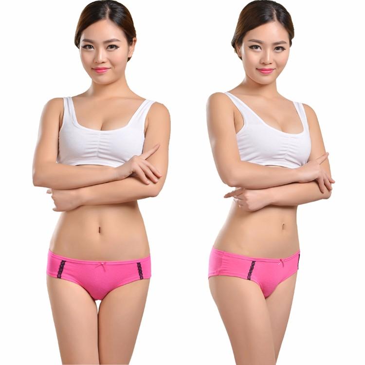 two views of model in pink panties 750x750