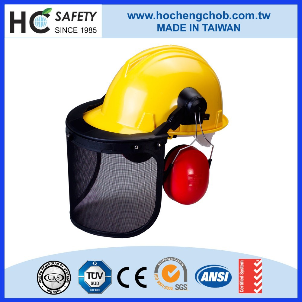 H101WM ABS CE EN397 impact resistant safety helmet with wire mesh face visor