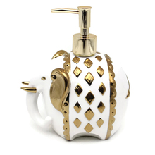 Luxuriously Ceramic Bathroom Set for Elephant Liquid Soap Dispenser with Chrome Finish Plastic Pump Head