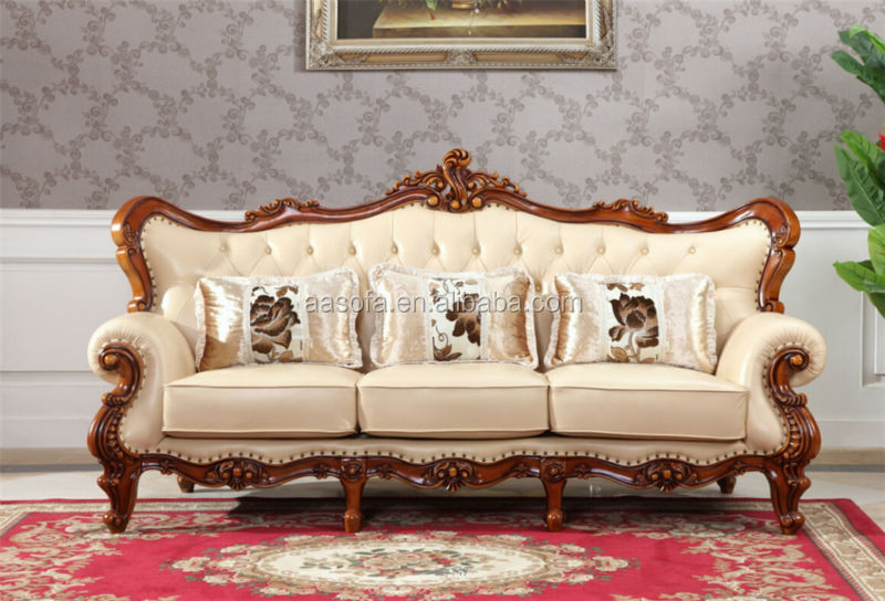 Classic italian antique living room furniture wooden sofa for Latest sofa for drawing room