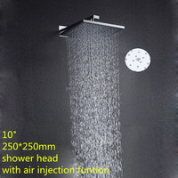 Factory supply jiangmen Chrome 10inch sqaure wall mounted water saving shower head with air injection