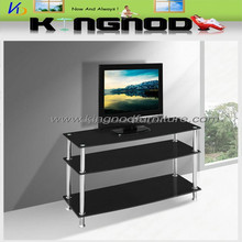Simple design glass corner wrought iron tv stand
