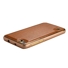 Litchi stria PU leather + metal frame hard phone case for Glory 6
