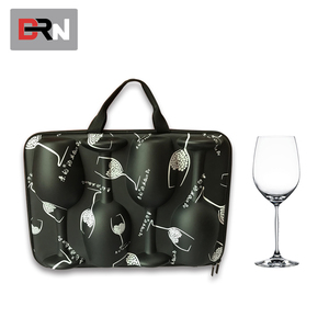 Reusable eva wine bottle tote bag wholesale wine glass carrying bag