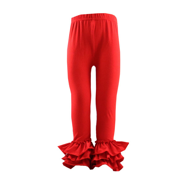 Knit Cotton ruffle pants solid Children or Girls icing Leggings triple Baby ruffle pants Trousers