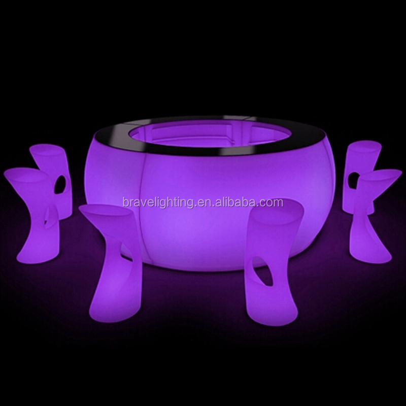 Round bar table LED light furniture illuminated home bar counter design,led round bar counters design