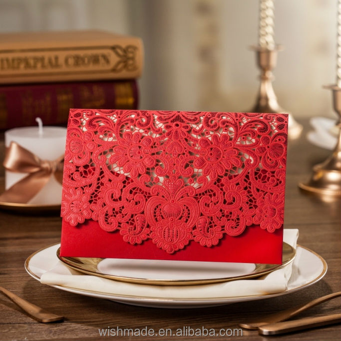 2017 New design Chinese Red Laser Cut Wedding Invitation Card with Embossed Flower CW057