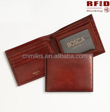 Genuine Leather Best Selling Slim Brown-Red Bifold Classical RFID Blocking Secure Leather Wallet For Men