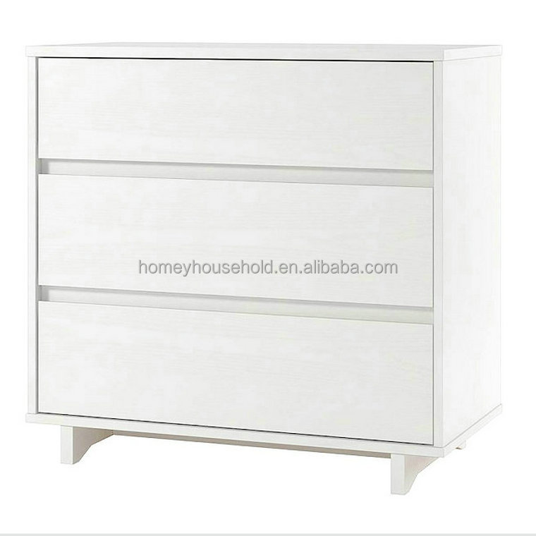 Modern living room furniture 3 drawer dresser white wood chest of drawers