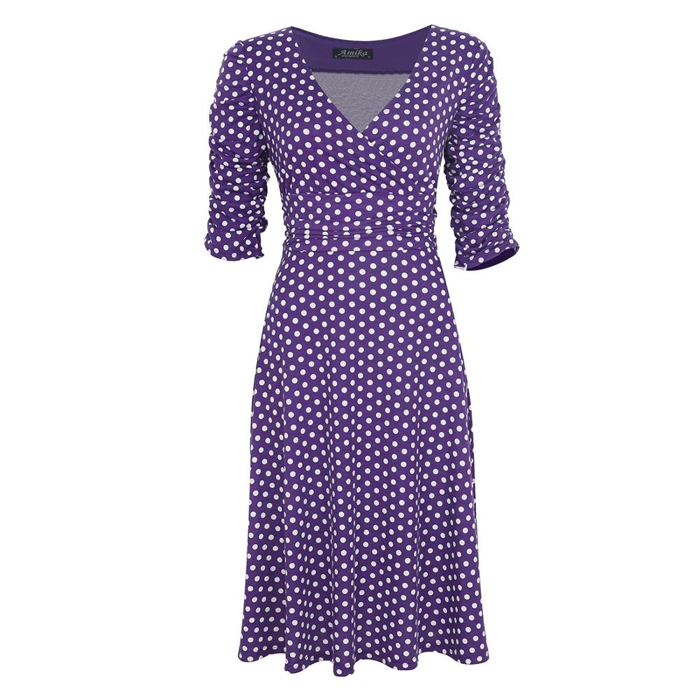 Europe and USA fashion deep shirt v-neck dot dress white green purple red black color waisting a line frock half sleeve