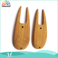 natural bamboo divot colored golf pitch repair tool