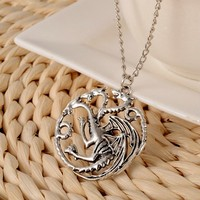 The song of ice and fire power game around Europe and the United States film fire dragon necklace
