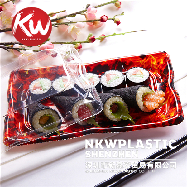 Wholesale sushi dish disposable to go containers restaurant food sushi packaging box, takeaway plastic food tray clear with lid
