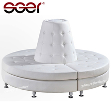 Wedding furniture white leather round sectional sofa