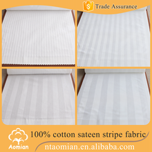 extra width 100% cotton custom stripe sateen fabric for pillow cover