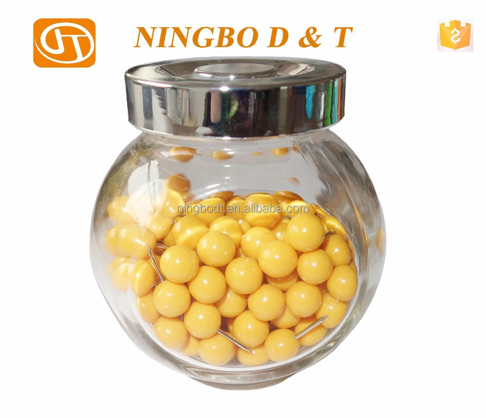 Ball Head Plastic Thumb Tacks/Push Pins in Glass Bottle gift