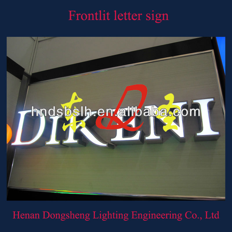 Wall mounted front illuminated store sign