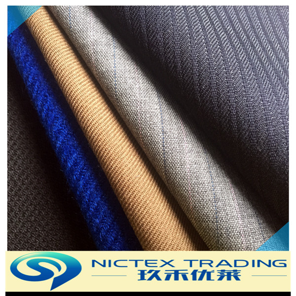 worsted black/dark blue/yellow/grey color wool polyester blended suit fabrics
