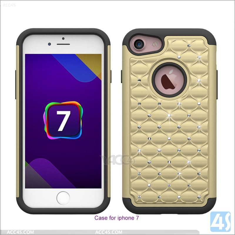 New arrival diamond bling shockproof hard phone case for iphone 7