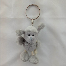 Small mini size cute stuffed plush grey sheep keychain toy