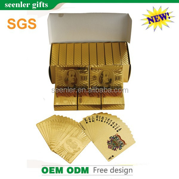 Full color printing 100 dollar gold playing cards