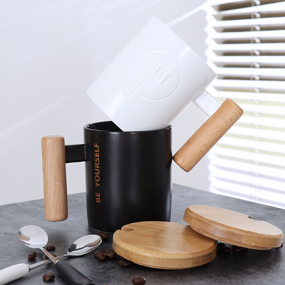 Black White Ceramic Coffee Wood Handle Mug with Spoon