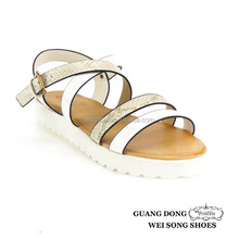 wholesale parallel upper ankle crossing strap white thick sole 2015 new style fashion sandal