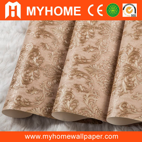 high quality vinyl wallpaper/home decorative wall coating/gold