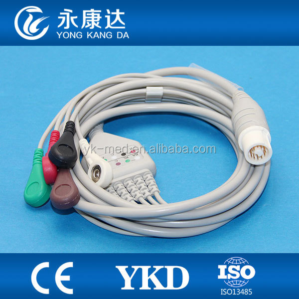 Fukuda Denshi ECG cable,5 leads,Snap,AHA for patient monitor