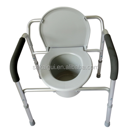 Aluminum Homecare Commode Chair with Adjustable Height