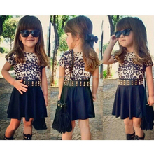 Hot sale! Sexy and modern leopard baby girl dress for 3-8T children wholesale high quality new model girl dress (ulik-A0071)