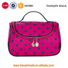 Double Zipper Polka Dots Toiletry Organizer Travel Bag Cosmetic Bag For Women (Rose Red)