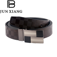 2018 High Quality Plate Buckle Belts For Men Fashion Designer Genuine Leather Luxury Reversible Belt