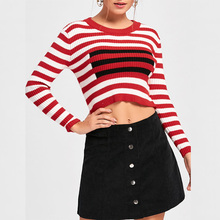 Striped top lady casual blouses knitted sweater long sleeve knitting wearing for women China supplier