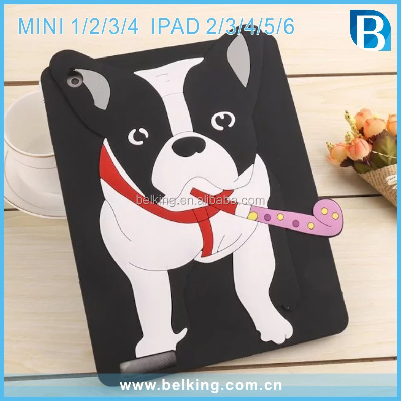 3D Cute Bulldog Silicon Case For iPad mini 4 Bull Dog Animals Tablet Cover