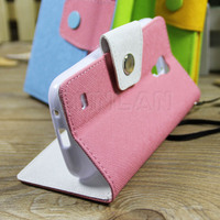 10 colors in stock leather wallet case for Samsung Galaxy S4 mini leather cover with tpu inside & stand