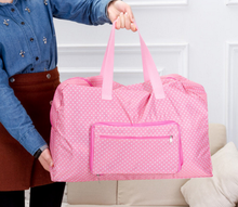 fashion pink dot woman ladies portable folding sport shopping bag travel bag