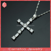 2017 gift 925 Sterling Silver wholesale cross pendant necklace customized fashion jewelry micro pave CZ amulet