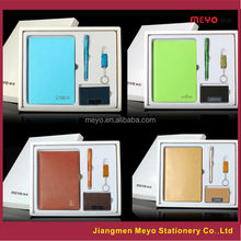 More colors PU Leather Notebook Diary promotion gift set with pen usb card holder