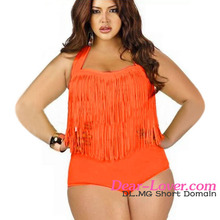 2016 Sexy girls Models Orange Fringed High-waist Young Teen Swimwear One Piece women Oem Plus Size
