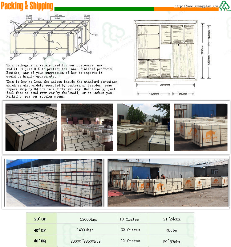 18mm plastic film faced formwork concrete plywood