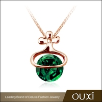 OUXI Emerald Gold Plated Pendant Necklace