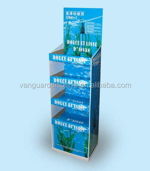 Corrugated Cardboard Floor Display Stand for Haircare Product Advertising
